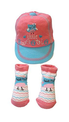 "Baby Essentials Baby Girls ""Little Sweetie"" Cap & Socks Gift Set"