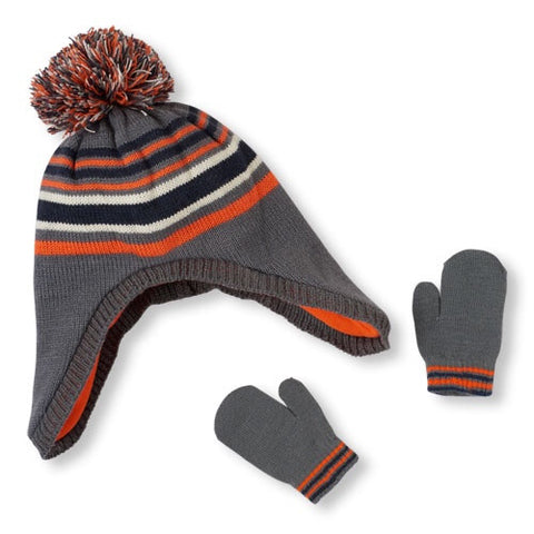 Childrens Place Pom Pom Hat and Mitten Set