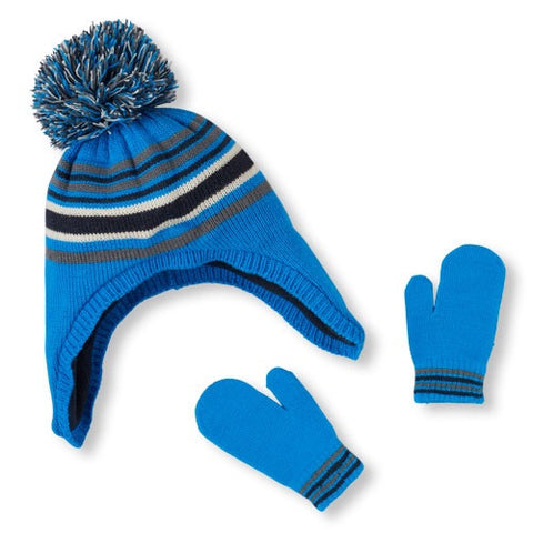 Childrens Place Boys Pom Pom Hat and Mitten Set