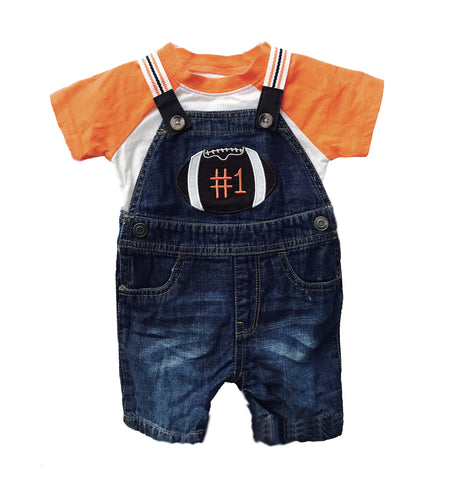 Children's Place Denim Shorts Overalls and Tshirt Set