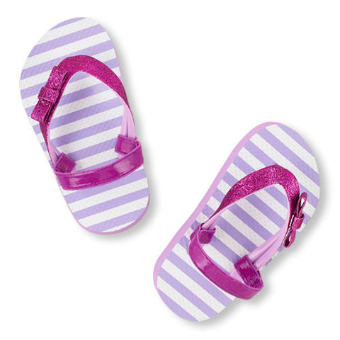 Children's Place Toddler Girl Glitter Bow Flip Flops Purple