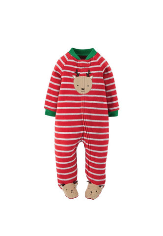 Carters Red Stripe Reindeer Fleece Romper