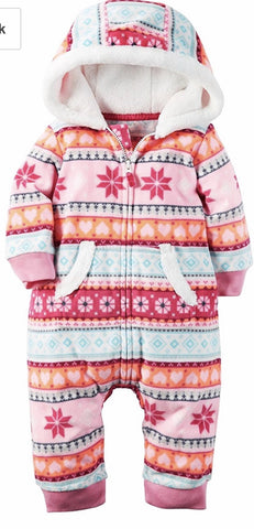 Carter's Girl Hooded Fleece Jumpsuit