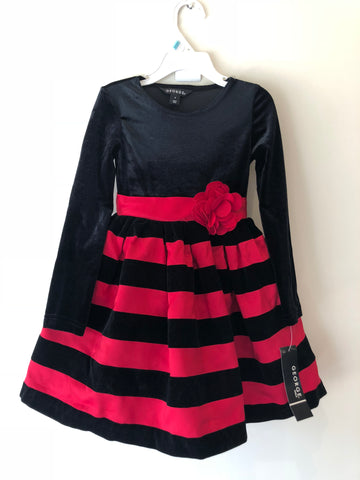 George Red And Black Velour Holiday Dress