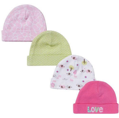 Gerber 4 pack cap set for baby girls