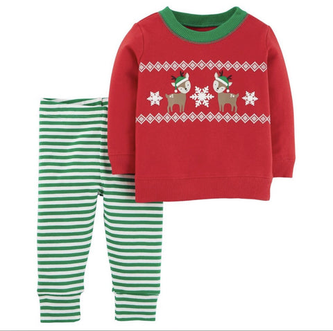 Carters Boy Reindeer 2 Piece Terry Sweater Set Red/Green Stripes