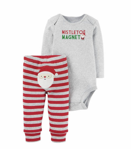 Carters Joy Baby Boys' Mistletoe Magnet 2 Piece Pant Set Gray