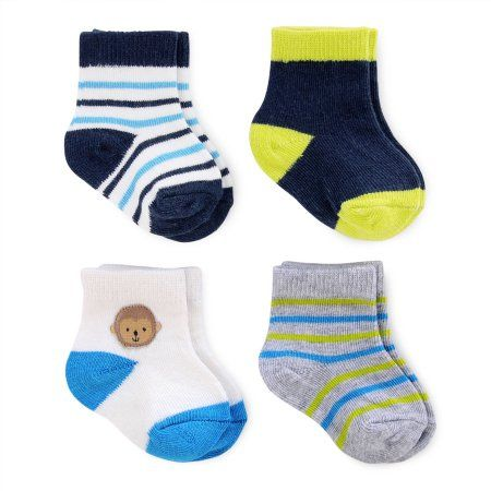 Child of Mine by Carter's Newborn Baby Boy Computer Socks, 4 Pack