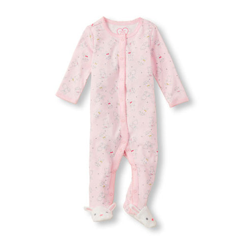 Childrens Place Pink Bunny Print Sleep and Play