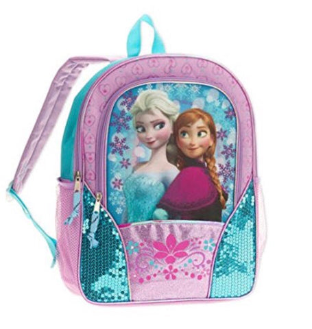 "Disney Frozen Full 16"" Sequined and Glitter Backpack- Blue/Purple"