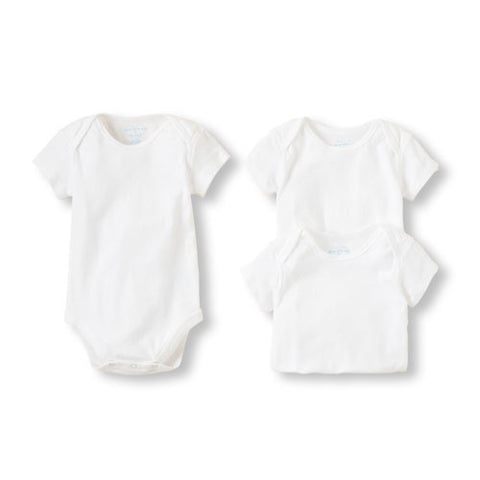 Childrens Place 3 Pack White short sleeve bodysuits