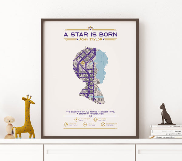 A Star is born, Newbron boy, Personalized Map