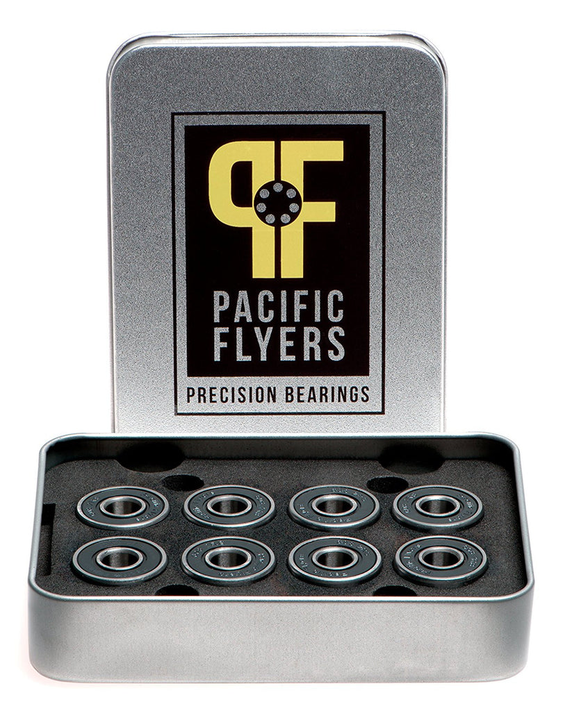 Pacific Flyers Premium Ceramic Si3N4 Silicon Nitride Skateboard Bearings / Set of 8
