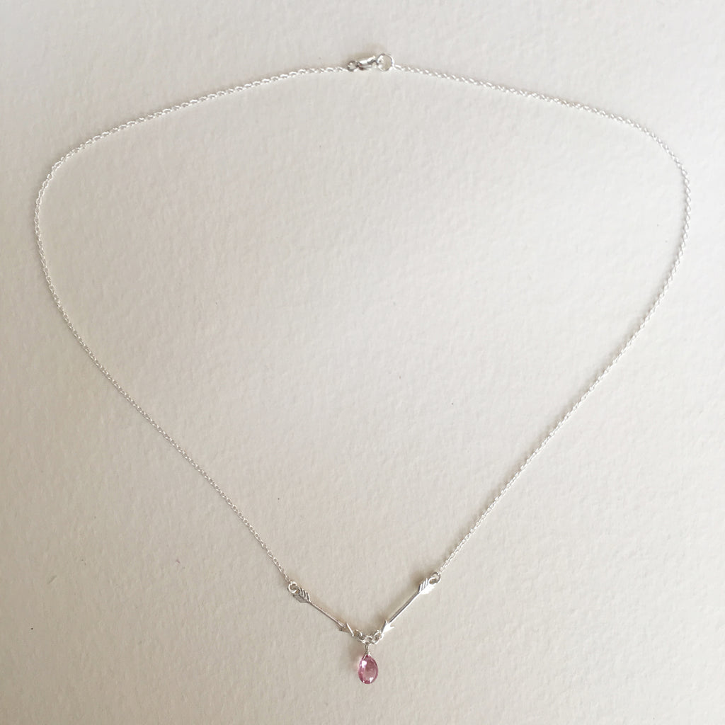 SIlver Arrow Necklace with pink sapphire