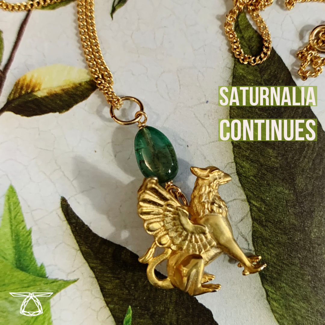 Gold Plated Griffin Necklace with Emerald Bead