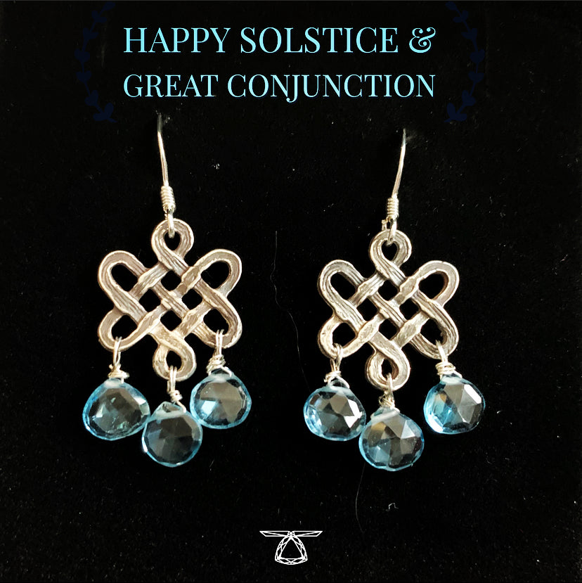 Serendipity Knot Earrings with Blue Topaz
