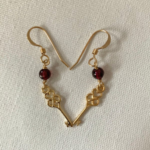 Garnet Love Key Knot Earrings
