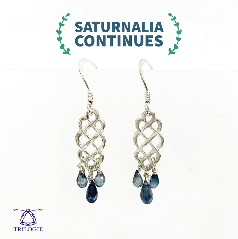 Blue Sapphire Infinitude Knot Earrings