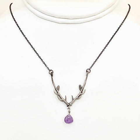 SALE Stag of Destiny Necklace with Amethyst