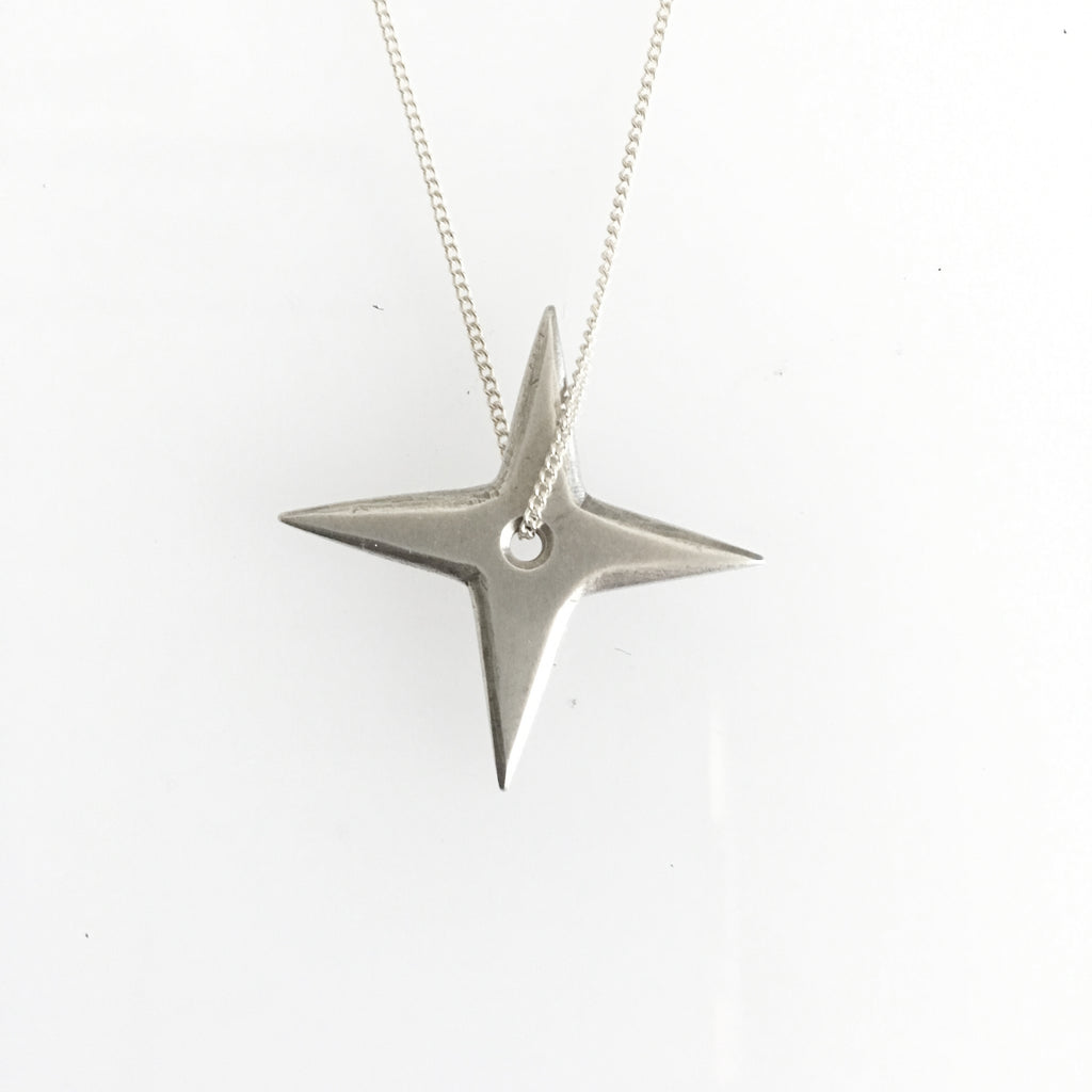 Large Silver Shuriken Necklace