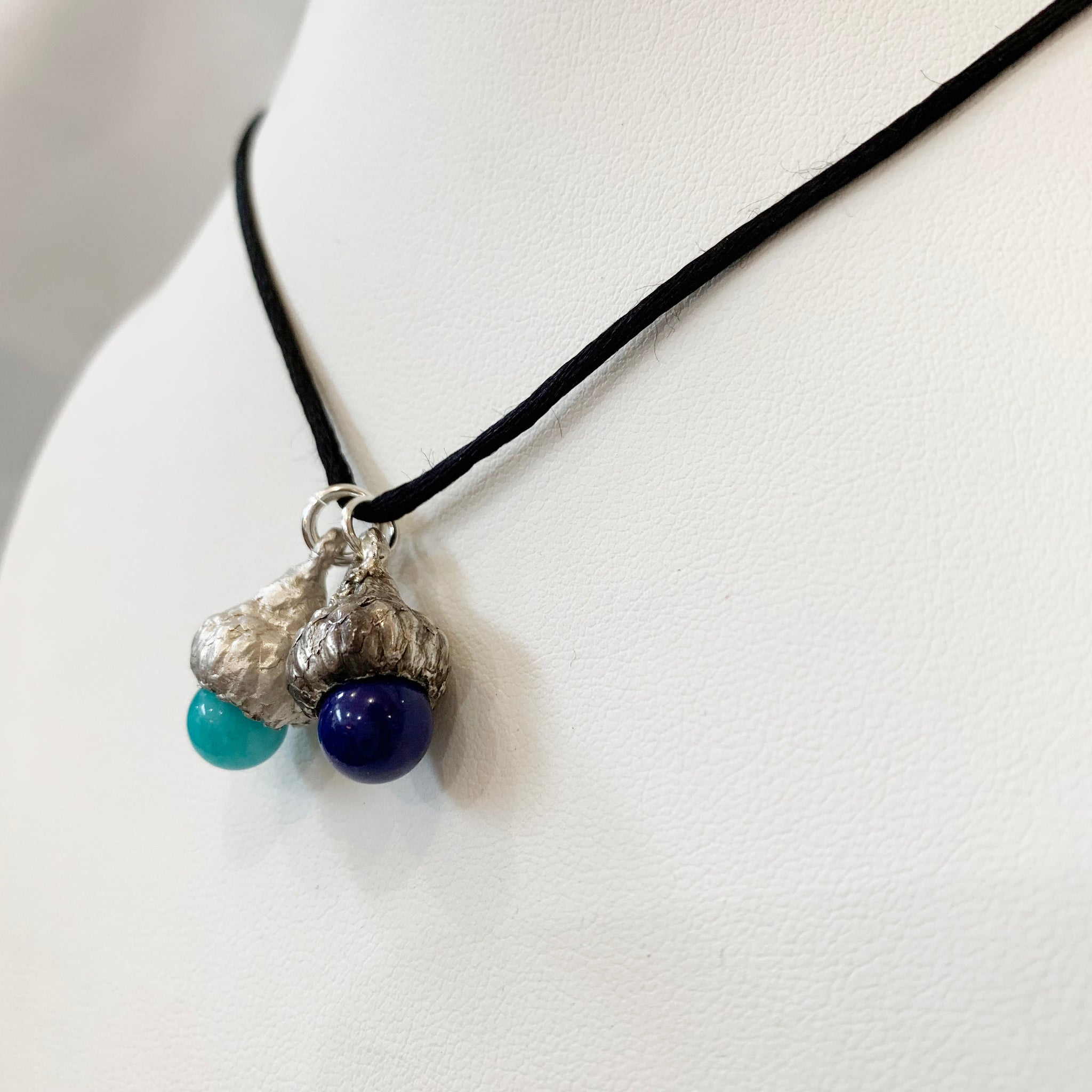 Silver Acorn Pendant with Stone