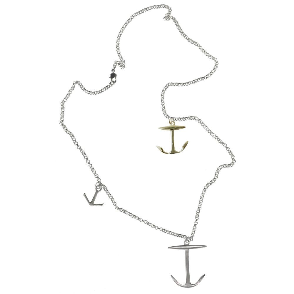 Silver Trilogie Anchor Necklace