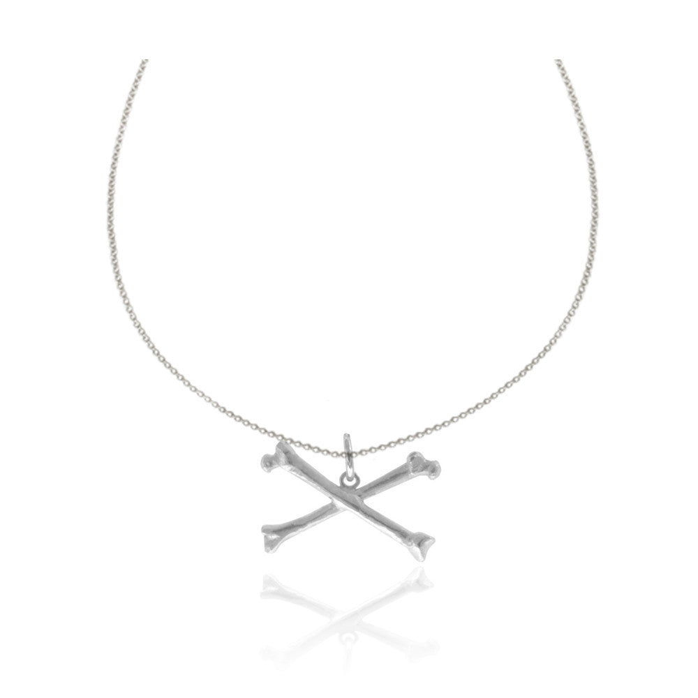 Silver Large Rock & Bone Necklace
