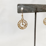 Gold Fill Clock Earrings