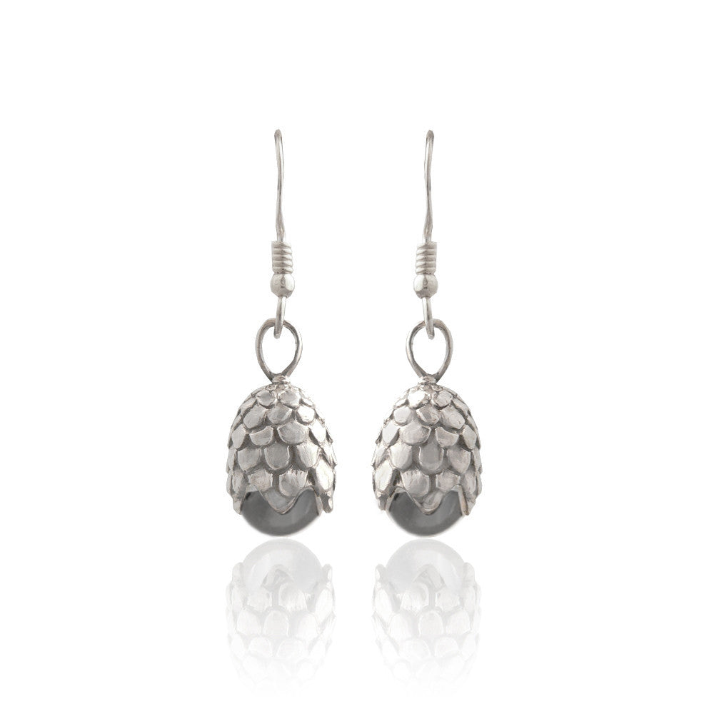 Silver Dragon Egg Earrings