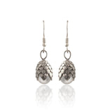 White Brass Dragon Egg Earrings