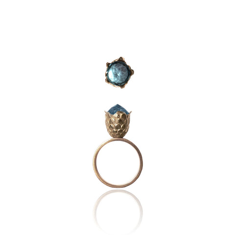 Blue Topaz Dragon Egg Ring