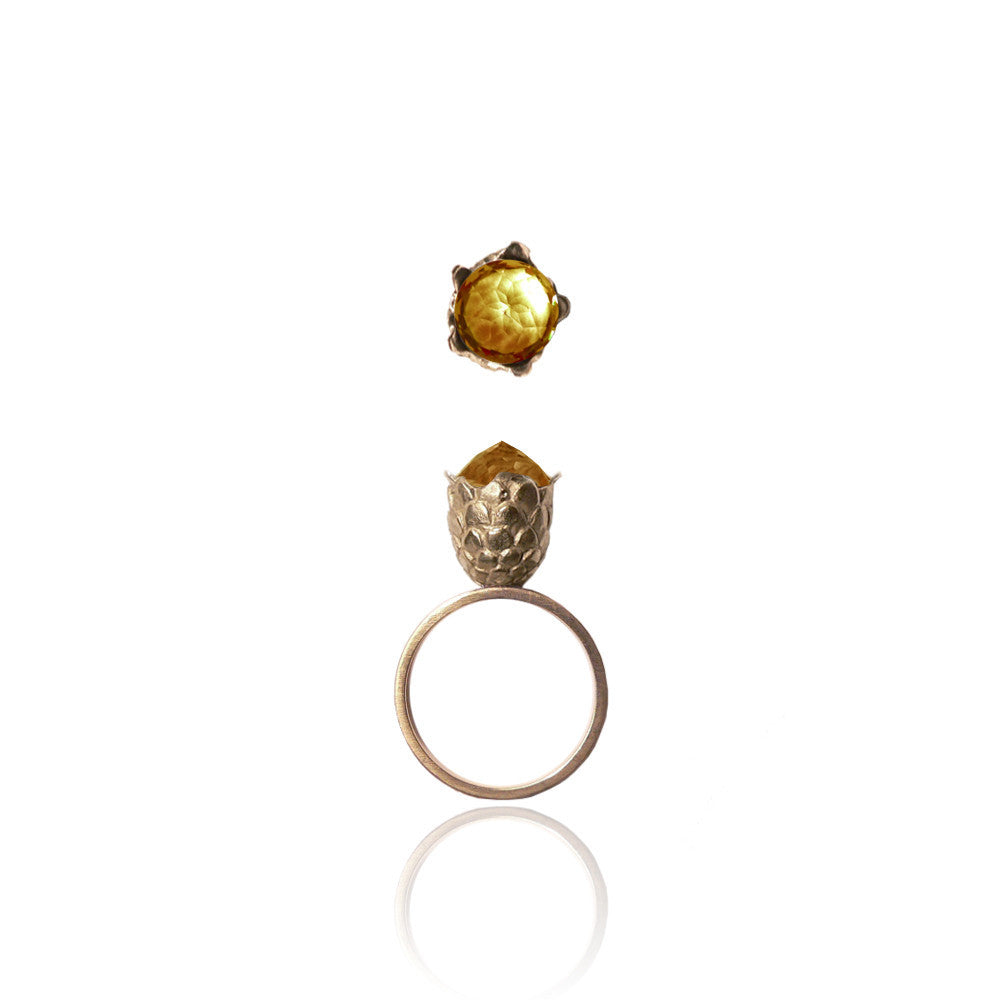 Citrine Dragon Egg Ring