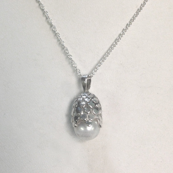Silver Dragon Egg Necklace