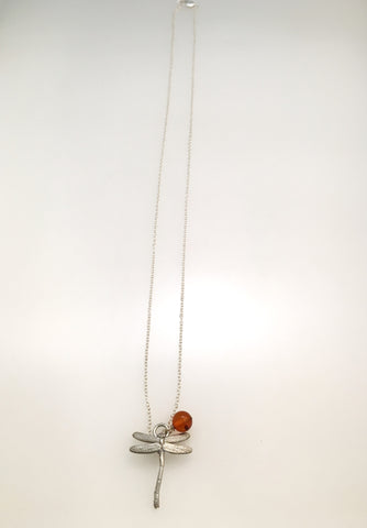 SALE - Tiny Silver Dragonfly Necklace with Amber