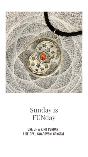 Sunday-FUNday Moon Stars Sun Wish Pendant