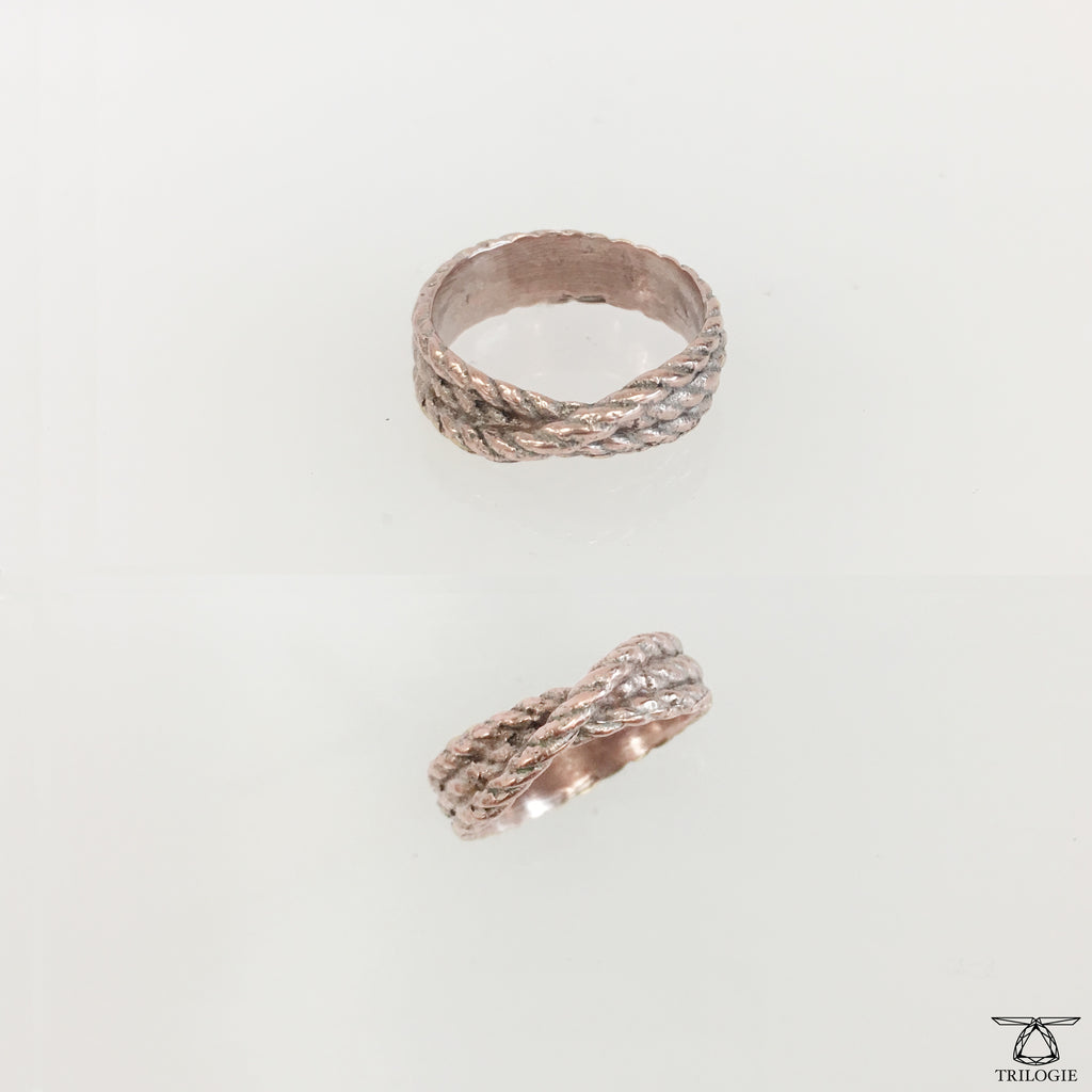 Sample Oxidized Pink Lasso Ring