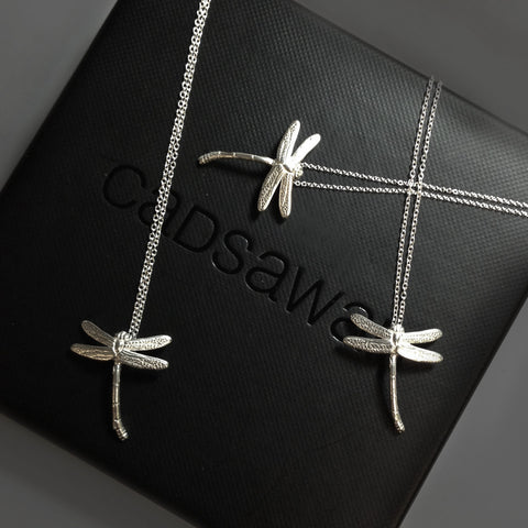 SALE - Tiny Silver Dragonfly Necklaces