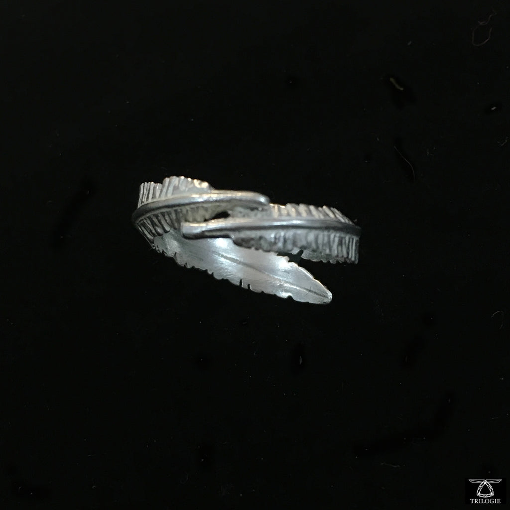 Silver Twin Feather Ring