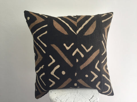 "Authentic African Mudcloth pillow cover 18""x18"", Mali"