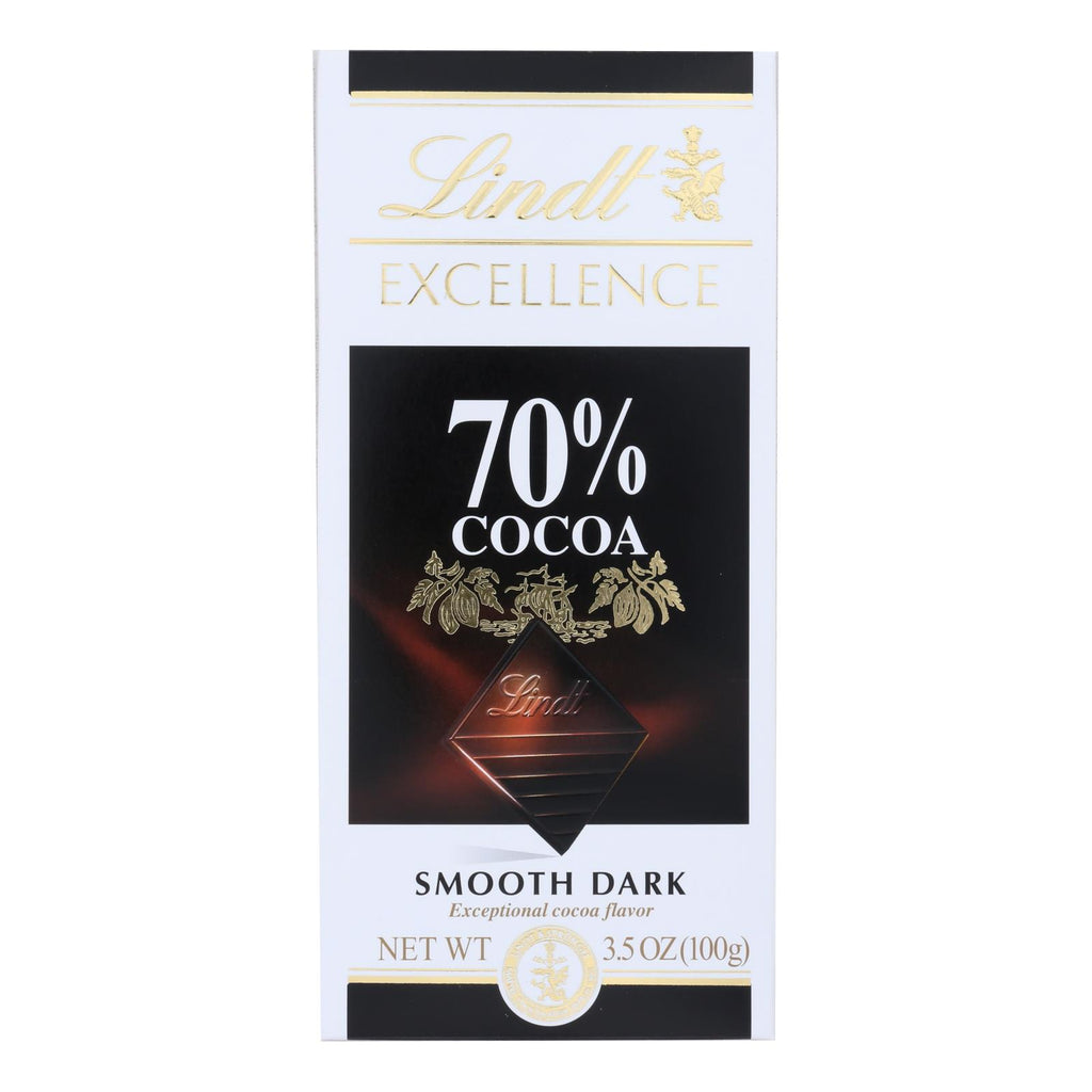 Lindt Chocolate Bar - Dark Chocolate - 70 Percent Cocoa - Smooth - 3.5 Oz Bars - Case Of 12