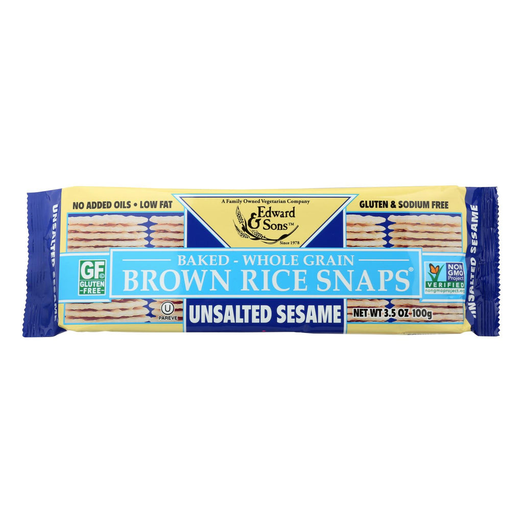 Edward And Sons Brown Rice Snaps - Unsalted Sesame - Case Of 12 - 3.5 Oz.