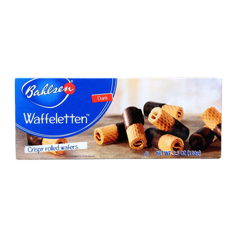 Bahlsen Waffeletten Dark Chocolate Rolls - Case Of 12 - 3.5 Oz.