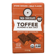 Taza Chocolate Stone Ground Organic Dark Chocolate Bar - Toffee, Almond, And Sea Salt - Case Of 10 - 2.5 Oz.