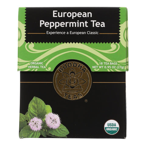 Buddha Teas - Organic Tea - European Peppermint - Case Of 6 - 18 Bags