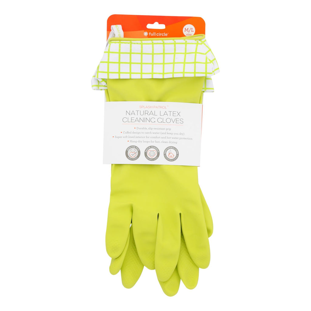 Full Circle Home - Splash Patrol Natural Latex Cleaning Gloves - Case Of 6 - 1 Count