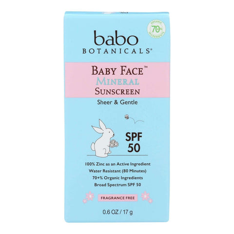 Babo Botanicals - Baby Face Mineral Sunscreen - Spf 50 - Case Of 6 - 0.6 Oz.