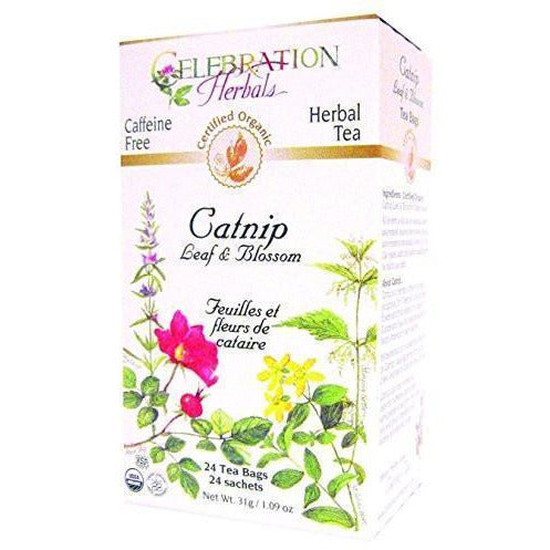 Celebration Herbals Organic Catnip Leaf and Blossom Tea - 24 Tea Bags - 1.06 oz