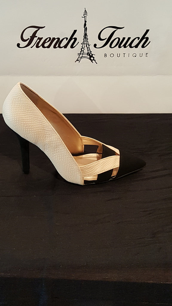 Tan and black snakeskin and suede criss cross heels -French Touch Boutique – Women's Clothing