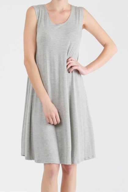Solid A-Line Grey Tank Dress -French Touch Boutique – Women's Clothing