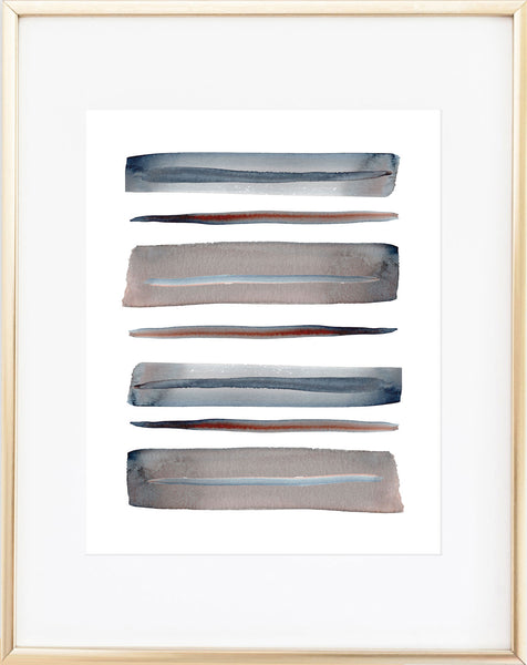 Abstract Taupe Gray Watercolor Print
